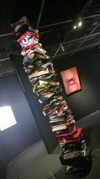 Art piece made of clothes and shopping bags from Hiding in the Island.